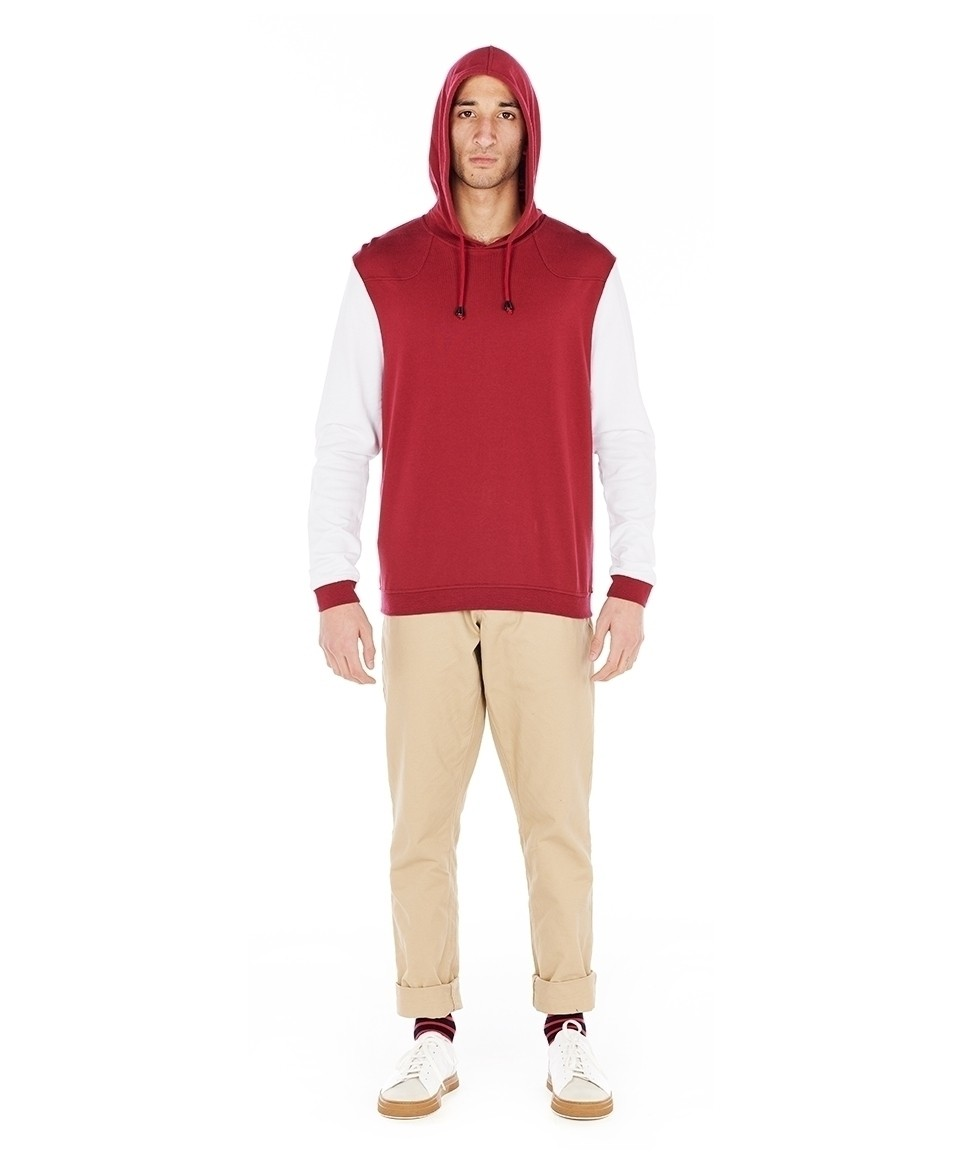 Sweat shirt à capuche bicolore