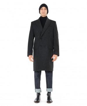 Manteau croisé laine