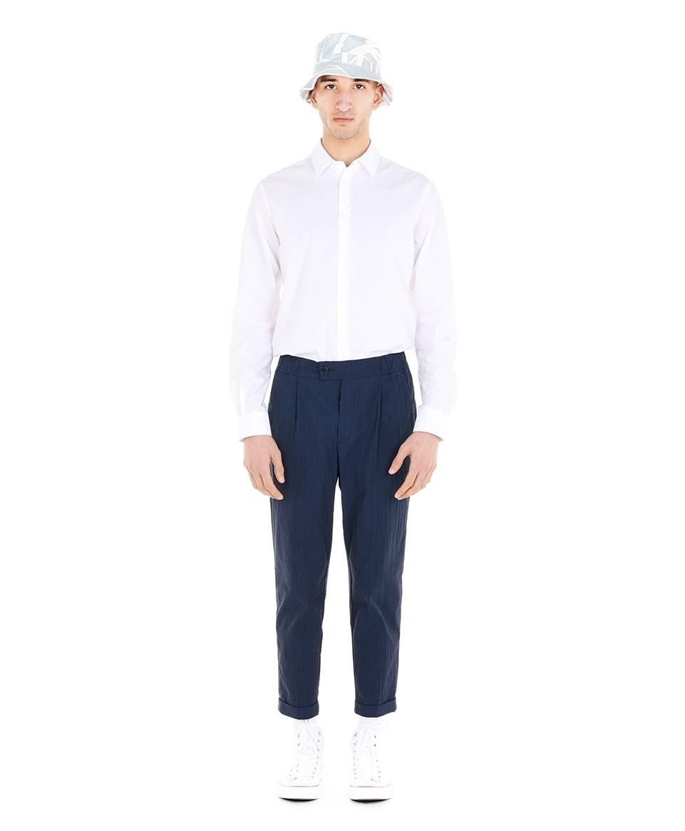 Pantalon seersucker à taille élastiquée